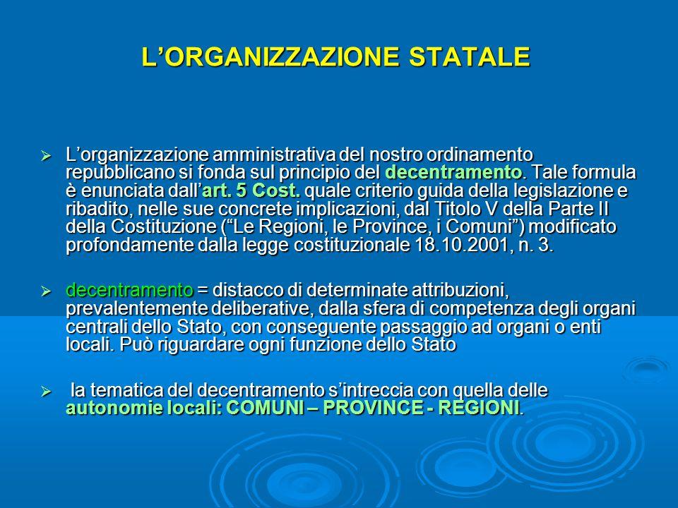 L'ORGANIZZAZIONE STATALE  L'organizzazione amministrativa del nostro ordinamento repubblicano si fonda sul principio del decentramento. Tale formula