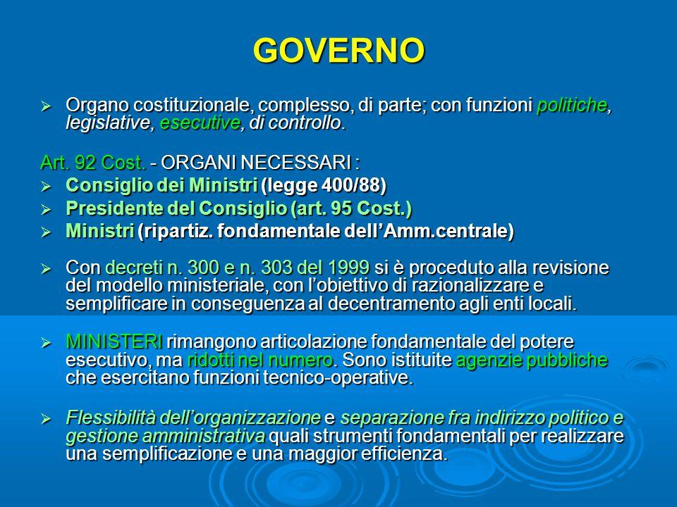 GOVERNO  Organo costituzionale, complesso, di parte; con funzioni politiche, legislative, esecutive, di controllo. Art. 92 Cost. - ORGANI NECESSARI :