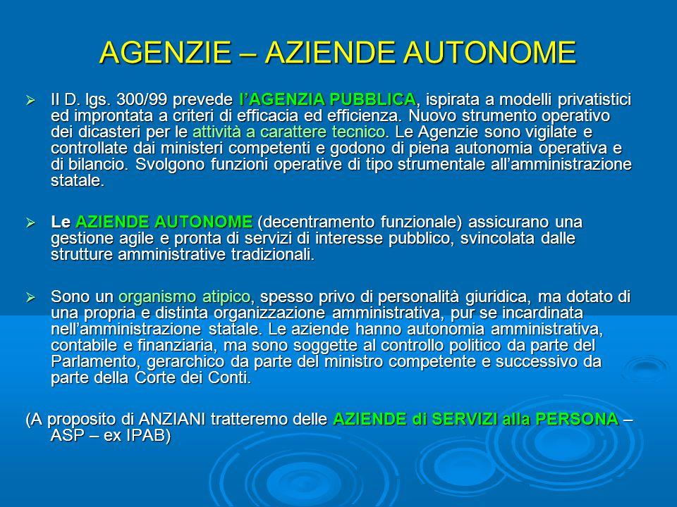 AGENZIE – AZIENDE AUTONOME  Il D.lgs.