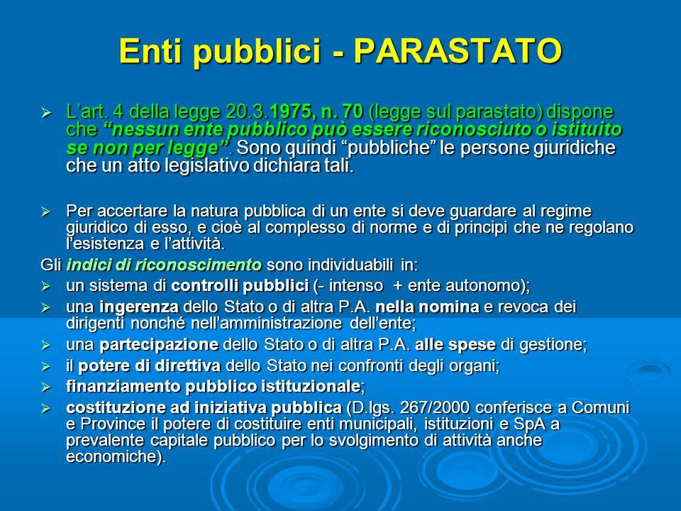 """Enti pubblici - PARASTATO  L'art. 4 della legge 20.3.1975, n. 70 (legge sul parastato) dispone che """"nessun ente pubblico può essere riconosciuto o is"""