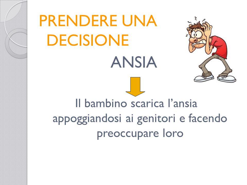 PRENDERE UNA DECISIONE ANSIA Il bambino scarica l'ansia appoggiandosi ai genitori e facendo preoccupare loro