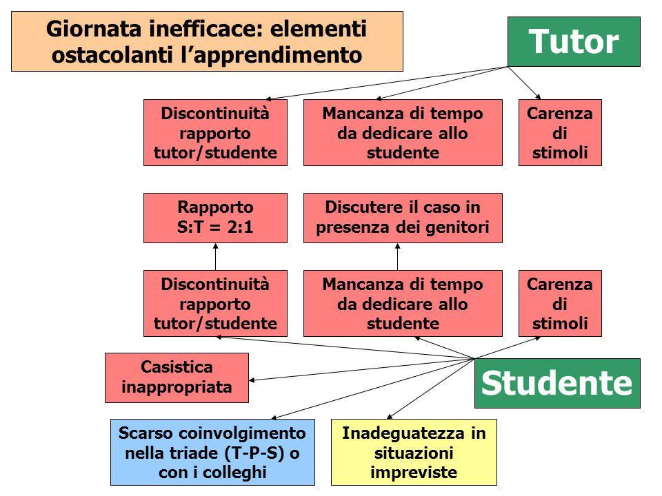 Tutor Discontinuità rapporto tutor/studente Mancanza di tempo da dedicare allo studente Carenza di stimoli Giornata inefficace: elementi ostacolanti l