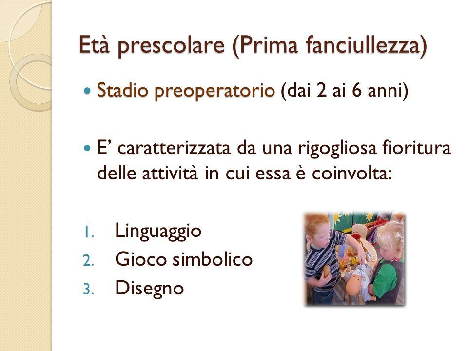 Età prescolare (Prima fanciullezza) Linguaggio  Fra i 2 e i 3 anni i bambini usano espressioni composte da un numero via via crescente di parole.
