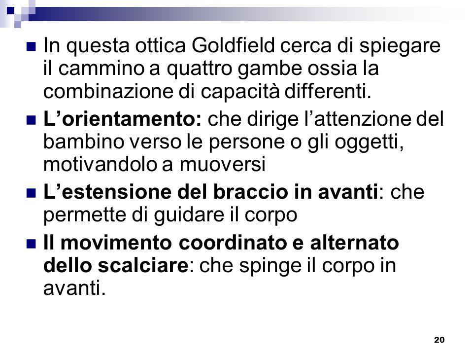 20 In questa ottica Goldfield cerca di spiegare il cammino a quattro gambe ossia la combinazione di capacità differenti.