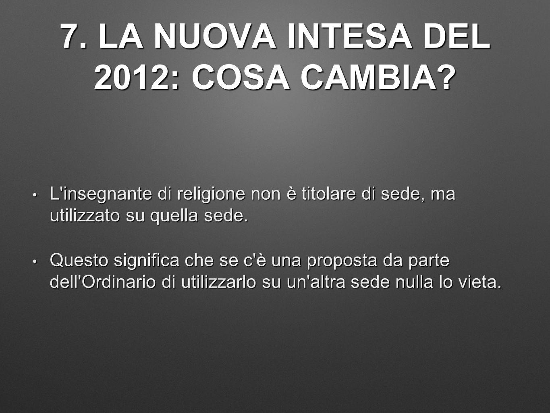7. LA NUOVA INTESA DEL 2012: COSA CAMBIA? L'insegnante di religione non è titolare di sede, ma utilizzato su quella sede. L'insegnante di religione no