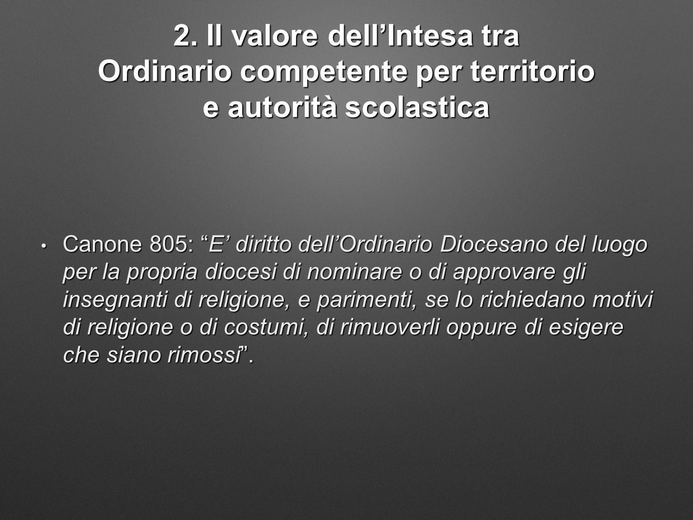 """2. Il valore dell'Intesa tra Ordinario competente per territorio e autorità scolastica Canone 805: """"E' diritto dell'Ordinario Diocesano del luogo per"""