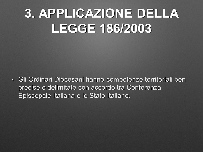 3. APPLICAZIONE DELLA LEGGE 186/2003 Gli Ordinari Diocesani hanno competenze territoriali ben precise e delimitate con accordo tra Conferenza Episcopa