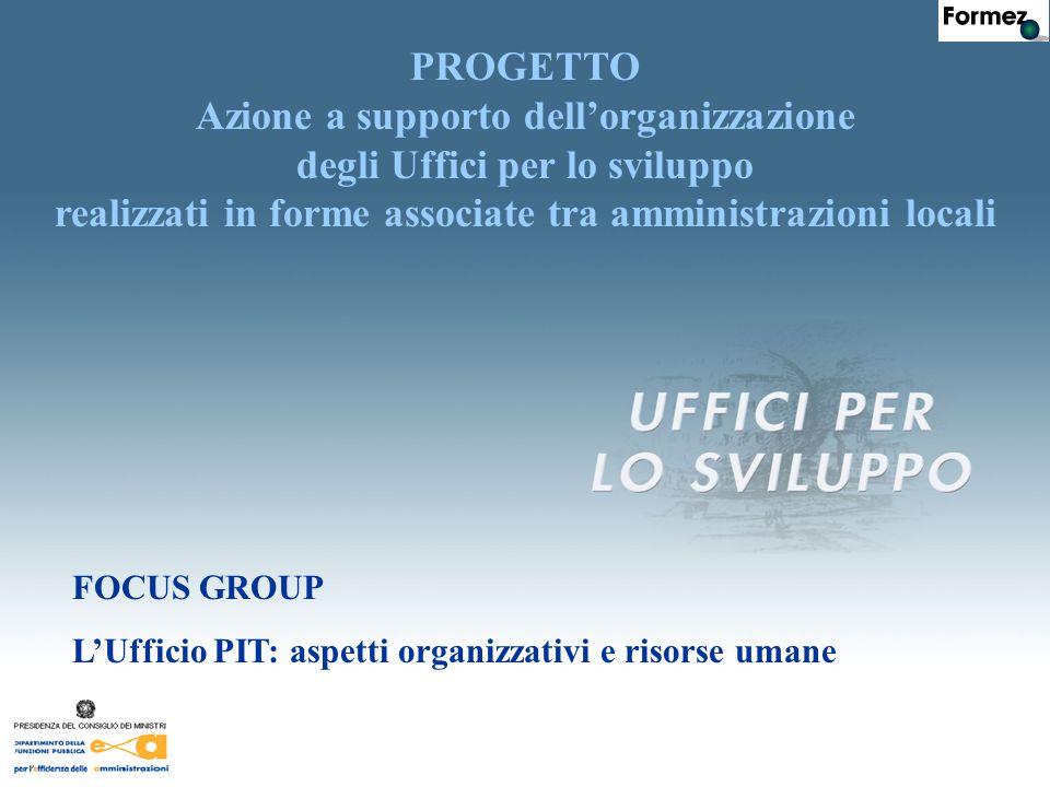 FOCUS GROUP L'Ufficio PIT: aspetti organizzativi e risorse umane PROGETTO Azione a supporto dell'organizzazione degli Uffici per lo sviluppo realizzati in forme associate tra amministrazioni locali