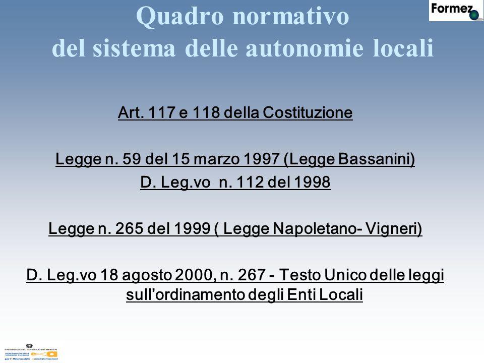 Quadro normativo del sistema delle autonomie locali Art.