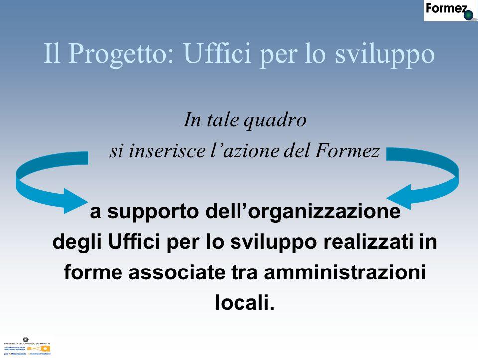 In tale quadro si inserisce l'azione del Formez a supporto dell'organizzazione degli Uffici per lo sviluppo realizzati in forme associate tra amministrazioni locali.