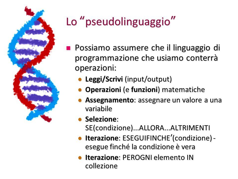 Lo pseudolinguaggio Possiamo assumere che il linguaggio di programmazione che usiamo conterrà operazioni: Possiamo assumere che il linguaggio di programmazione che usiamo conterrà operazioni: Leggi/Scrivi (input/output) Leggi/Scrivi (input/output) Operazioni (e funzioni) matematiche Operazioni (e funzioni) matematiche Assegnamento: assegnare un valore a una variabile Assegnamento: assegnare un valore a una variabile Selezione: SE(condizione)...ALLORA...ALTRIMENTI Selezione: SE(condizione)...ALLORA...ALTRIMENTI Iterazione: ESEGUIFINCHE ' (condizione) - esegue finché la condizione è vera Iterazione: ESEGUIFINCHE ' (condizione) - esegue finché la condizione è vera Iterazione: PEROGNI elemento IN collezione Iterazione: PEROGNI elemento IN collezione