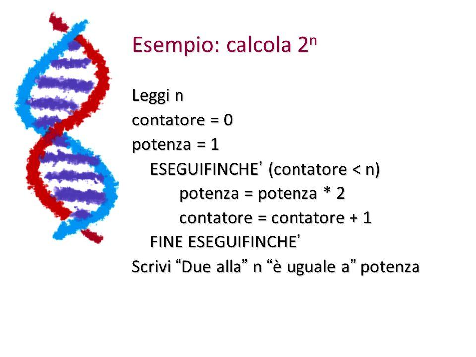 Esempio: calcola 2 n Leggi n contatore = 0 potenza = 1 ESEGUIFINCHE ' (contatore < n) potenza = potenza * 2 contatore = contatore + 1 FINE ESEGUIFINCHE ' Scrivi Due alla n è uguale a potenza