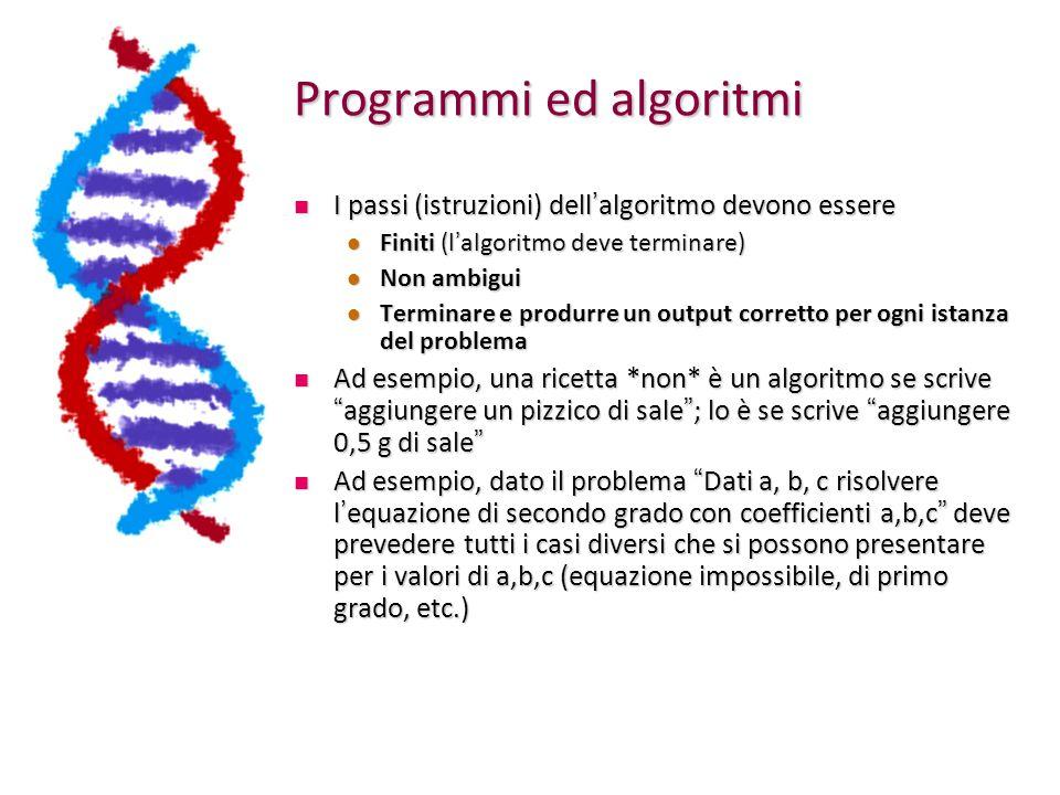 Programmi ed algoritmi I passi (istruzioni) dell ' algoritmo devono essere I passi (istruzioni) dell ' algoritmo devono essere Finiti (l ' algoritmo deve terminare) Finiti (l ' algoritmo deve terminare) Non ambigui Non ambigui Terminare e produrre un output corretto per ogni istanza del problema Terminare e produrre un output corretto per ogni istanza del problema Ad esempio, una ricetta *non* è un algoritmo se scrive aggiungere un pizzico di sale ; lo è se scrive aggiungere 0,5 g di sale Ad esempio, una ricetta *non* è un algoritmo se scrive aggiungere un pizzico di sale ; lo è se scrive aggiungere 0,5 g di sale Ad esempio, dato il problema Dati a, b, c risolvere l ' equazione di secondo grado con coefficienti a,b,c deve prevedere tutti i casi diversi che si possono presentare per i valori di a,b,c (equazione impossibile, di primo grado, etc.) Ad esempio, dato il problema Dati a, b, c risolvere l ' equazione di secondo grado con coefficienti a,b,c deve prevedere tutti i casi diversi che si possono presentare per i valori di a,b,c (equazione impossibile, di primo grado, etc.)