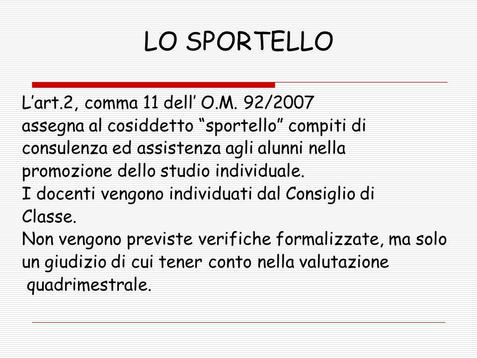 """LO SPORTELLO L'art.2, comma 11 dell' O.M. 92/2007 assegna al cosiddetto """"sportello"""" compiti di consulenza ed assistenza agli alunni nella promozione d"""