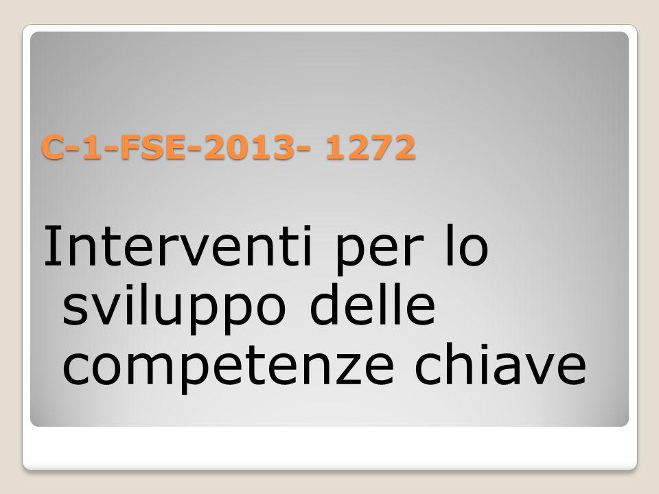 C-1-FSE-2013- 1272 Interventi per lo sviluppo delle competenze chiave