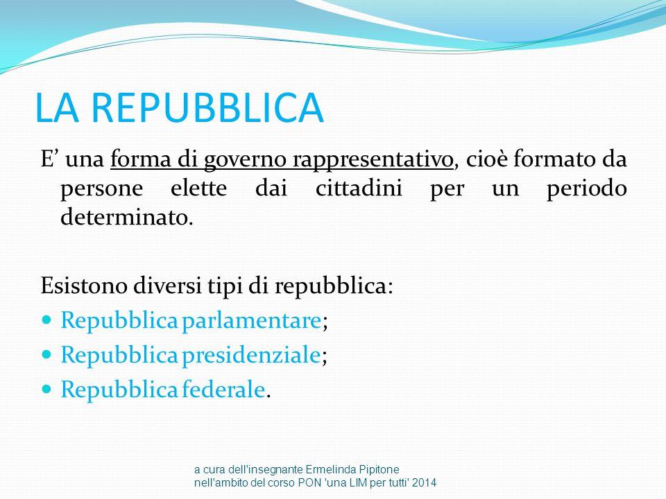 LA REPUBBLICA E' una forma di governo rappresentativo, cioè formato da persone elette dai cittadini per un periodo determinato. Esistono diversi tipi