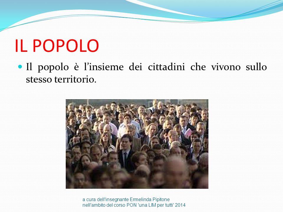 IL POPOLO Il popolo è l'insieme dei cittadini che vivono sullo stesso territorio. a cura dell'insegnante Ermelinda Pipitone nell'ambito del corso PON