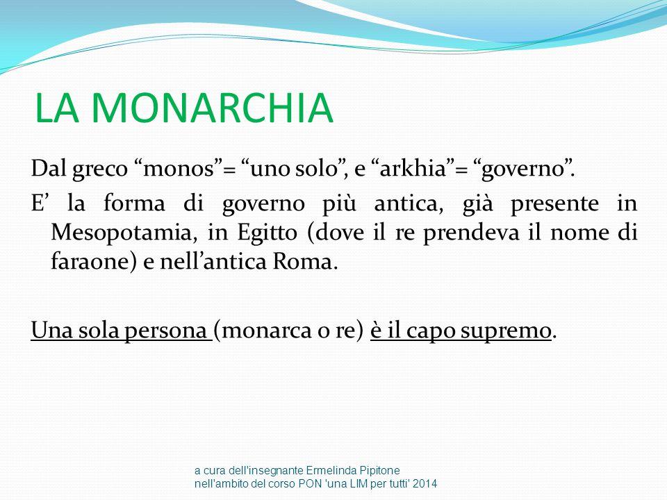 """LA MONARCHIA Dal greco """"monos""""= """"uno solo"""", e """"arkhia""""= """"governo"""". E' la forma di governo più antica, già presente in Mesopotamia, in Egitto (dove il"""