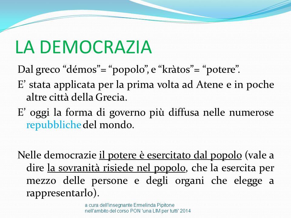 """LA DEMOCRAZIA Dal greco """"démos""""= """"popolo"""", e """"kràtos""""= """"potere"""". E' stata applicata per la prima volta ad Atene e in poche altre città della Grecia. E"""