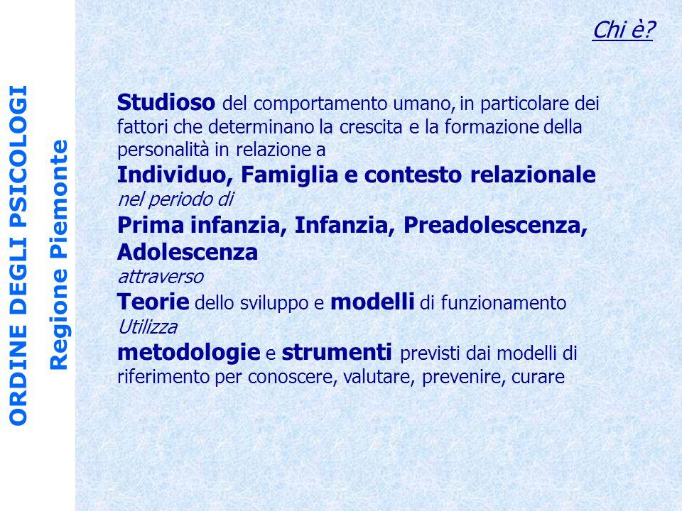 ORDINE DEGLI PSICOLOGI Regione Piemonte Chi è.