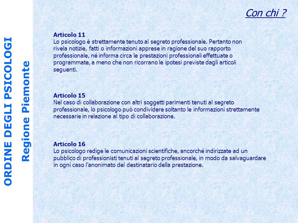 ORDINE DEGLI PSICOLOGI Regione Piemonte Cosa deve saper fare.