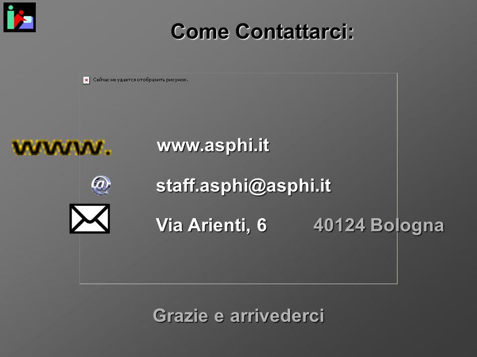 Come Contattarci: www.asphi.it staff.asphi@asphi.it Via Arienti, 6 Grazie e arrivederci 40124 Bologna