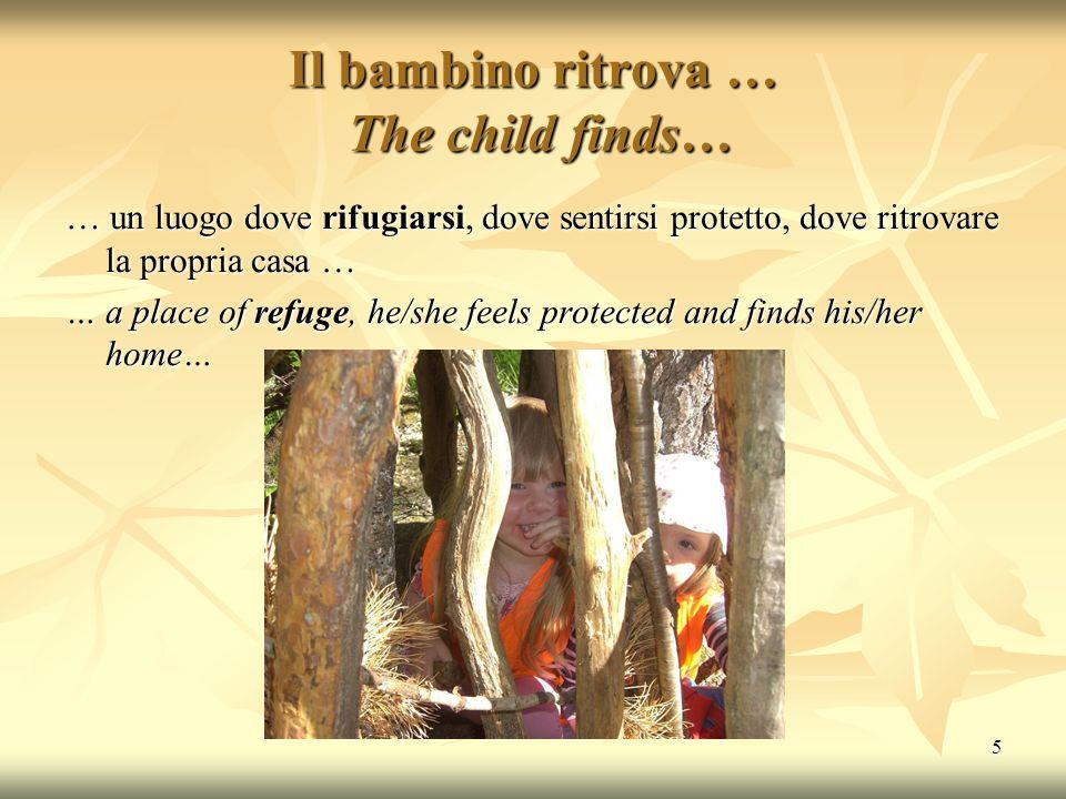 5 Il bambino ritrova … The child finds… … un luogo dove rifugiarsi, dove sentirsi protetto, dove ritrovare la propria casa … … a place of refuge, he/s