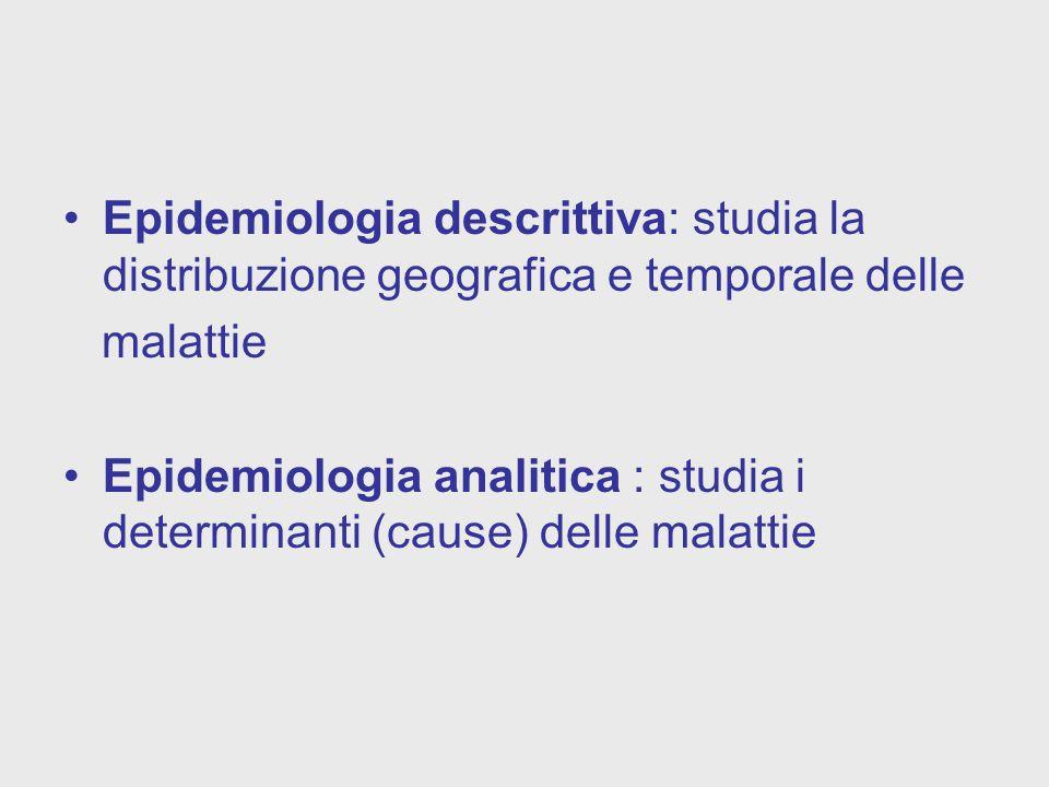 Epidemiologia descrittiva: studia la distribuzione geografica e temporale delle malattie Epidemiologia analitica : studia i determinanti (cause) delle malattie