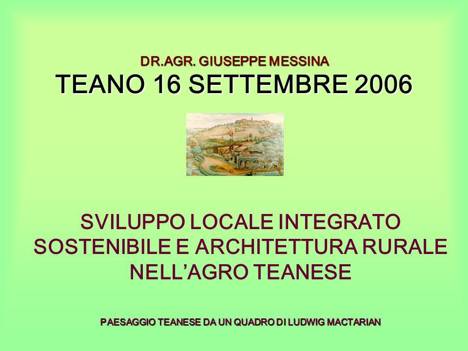 DR.AGR. GIUSEPPE MESSINA TEANO 16 SETTEMBRE 2006 SVILUPPO LOCALE INTEGRATO SOSTENIBILE E ARCHITETTURA RURALE NELL'AGRO TEANESE PAESAGGIO TEANESE DA UN