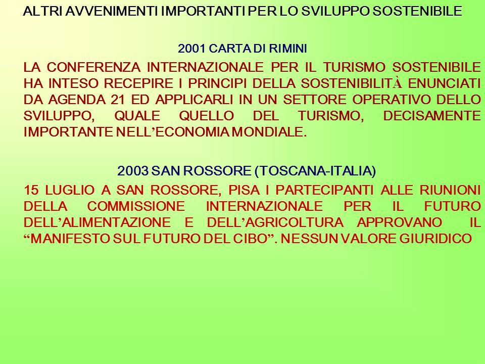 ALTRI AVVENIMENTI IMPORTANTI PER LO SVILUPPO SOSTENIBILE 2001 CARTA DI RIMINI LA CONFERENZA INTERNAZIONALE PER IL TURISMO SOSTENIBILE HA INTESO RECEPIRE I PRINCIPI DELLA SOSTENIBILIT À ENUNCIATI DA AGENDA 21 ED APPLICARLI IN UN SETTORE OPERATIVO DELLO SVILUPPO, QUALE QUELLO DEL TURISMO, DECISAMENTE IMPORTANTE NELL ' ECONOMIA MONDIALE.