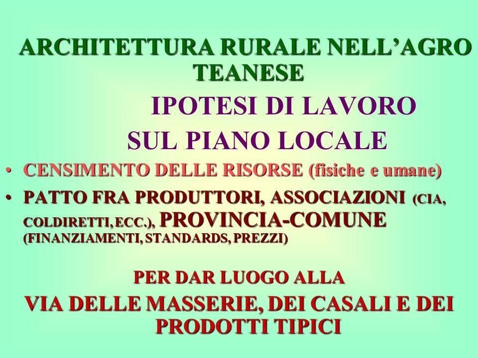 ARCHITETTURA RURALE NELL'AGRO TEANESE ARCHITETTURA RURALE NELL'AGRO TEANESE IPOTESI DI LAVORO SUL PIANO LOCALE CENSIMENTO DELLE RISORSE (fisiche e umane)CENSIMENTO DELLE RISORSE (fisiche e umane) PATTO FRA PRODUTTORI, ASSOCIAZIONI (CIA, COLDIRETTI, ECC.), PROVINCIA-COMUNE (FINANZIAMENTI, STANDARDS, PREZZI)PATTO FRA PRODUTTORI, ASSOCIAZIONI (CIA, COLDIRETTI, ECC.), PROVINCIA-COMUNE (FINANZIAMENTI, STANDARDS, PREZZI) PER DAR LUOGO ALLA VIA DELLE MASSERIE, DEI CASALI E DEI PRODOTTI TIPICI