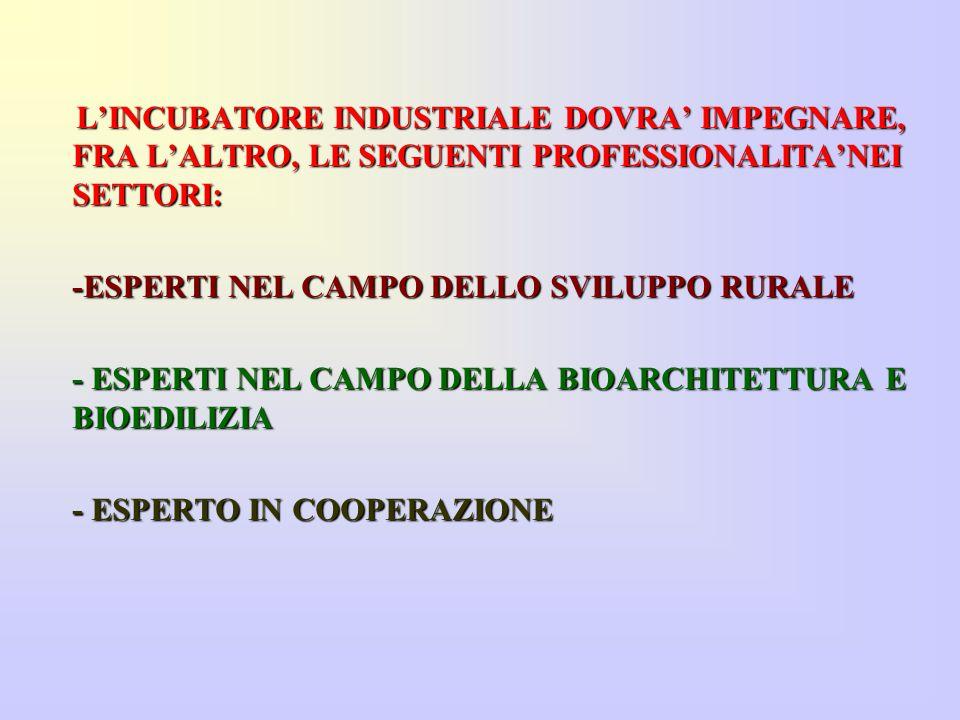 L'INCUBATORE INDUSTRIALE DOVRA' IMPEGNARE, FRA L'ALTRO, LE SEGUENTI PROFESSIONALITA'NEI SETTORI: L'INCUBATORE INDUSTRIALE DOVRA' IMPEGNARE, FRA L'ALTRO, LE SEGUENTI PROFESSIONALITA'NEI SETTORI: -ESPERTI NEL CAMPO DELLO SVILUPPO RURALE - ESPERTI NEL CAMPO DELLA BIOARCHITETTURA E BIOEDILIZIA - ESPERTO IN COOPERAZIONE