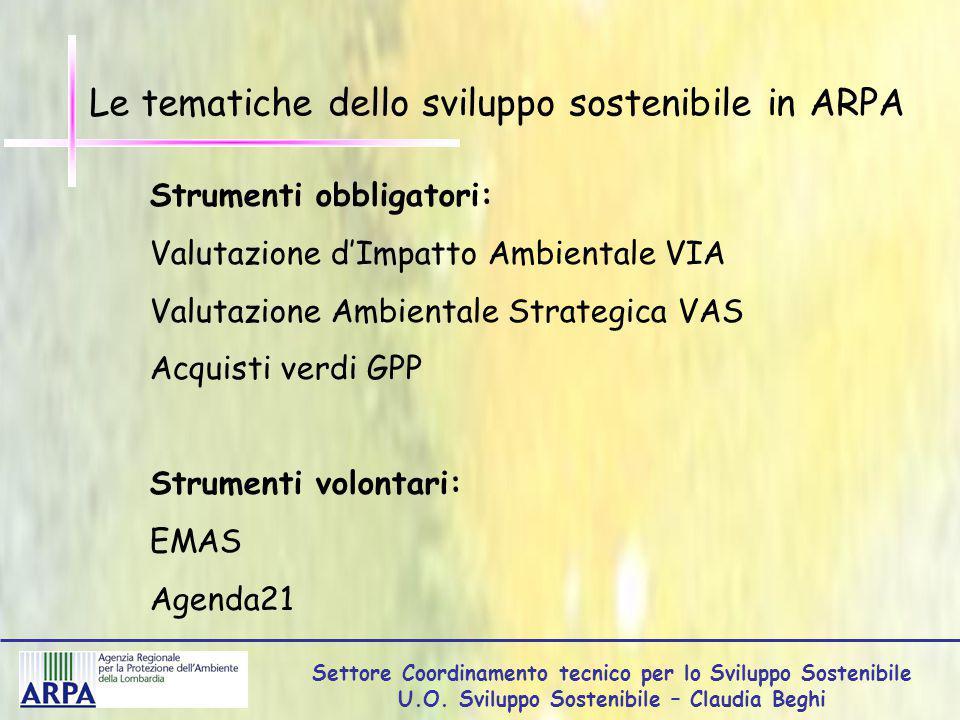 Settore Coordinamento tecnico per lo Sviluppo Sostenibile U.O.