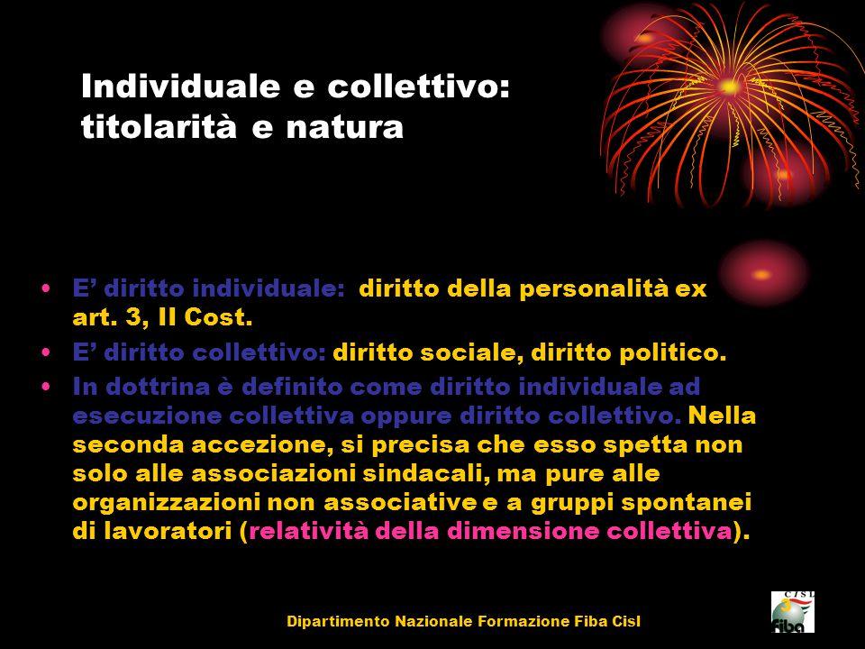 Dipartimento Nazionale Formazione Fiba Cisl 3 Individuale e collettivo: titolarità e natura E' diritto individuale: diritto della personalità ex art.