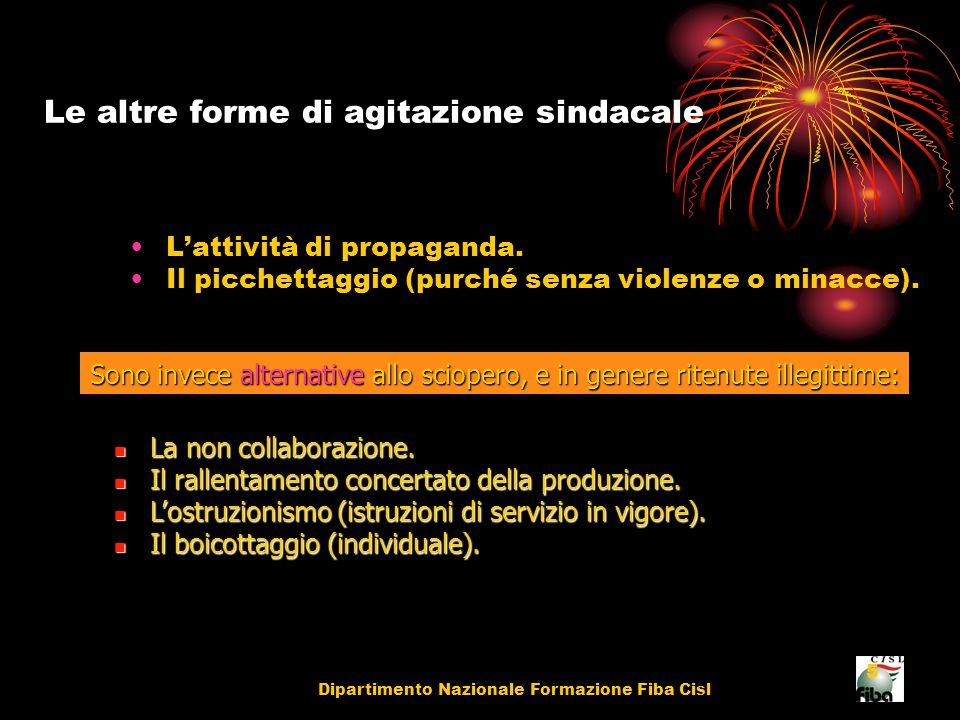 Dipartimento Nazionale Formazione Fiba Cisl 5 Le altre forme di agitazione sindacale L'attività di propaganda.