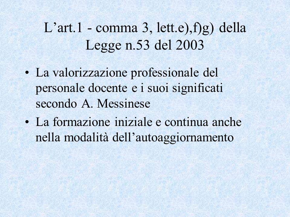 L'art.1 - comma 3, lett.e),f)g) della Legge n.53 del 2003 La valorizzazione professionale del personale docente e i suoi significati secondo A.