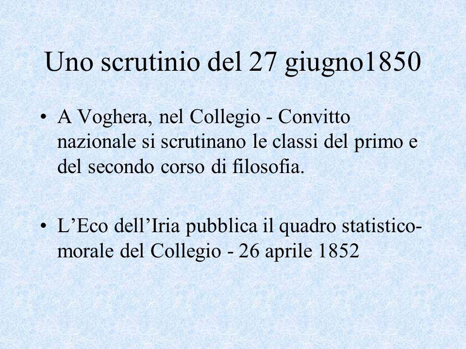 Uno scrutinio del 27 giugno1850 A Voghera, nel Collegio - Convitto nazionale si scrutinano le classi del primo e del secondo corso di filosofia.
