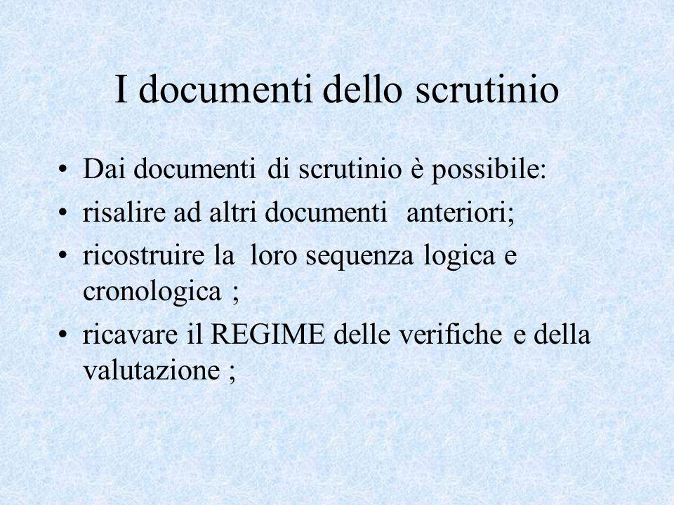 I documenti dello scrutinio Dai documenti di scrutinio è possibile: risalire ad altri documenti anteriori; ricostruire la loro sequenza logica e cronologica ; ricavare il REGIME delle verifiche e della valutazione ;
