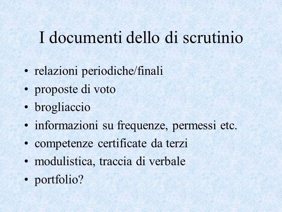 I documenti dello di scrutinio relazioni periodiche/finali proposte di voto brogliaccio informazioni su frequenze, permessi etc.