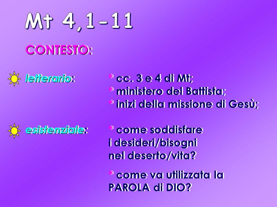 CONTESTO: letterario letterario :* cc. 3 e 4 di Mt; * ministero del Battista; * inizi della missione di Gesù; esistenziale esistenziale: * come soddis