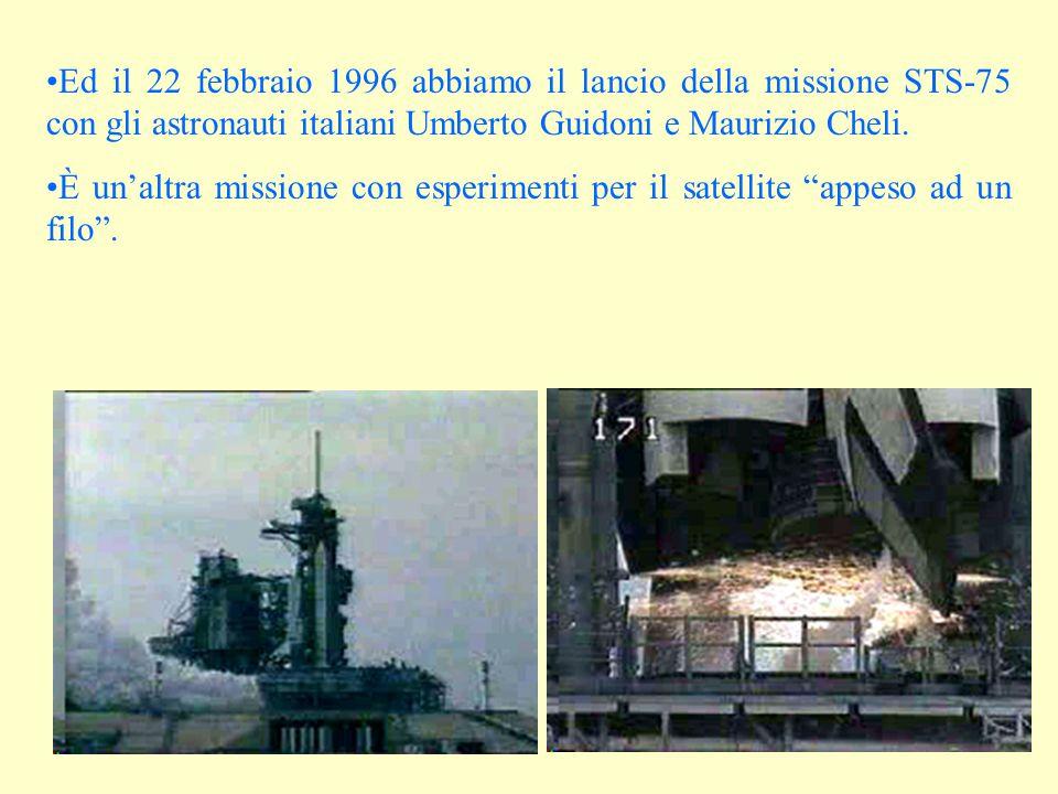 Ed il 22 febbraio 1996 abbiamo il lancio della missione STS-75 con gli astronauti italiani Umberto Guidoni e Maurizio Cheli.