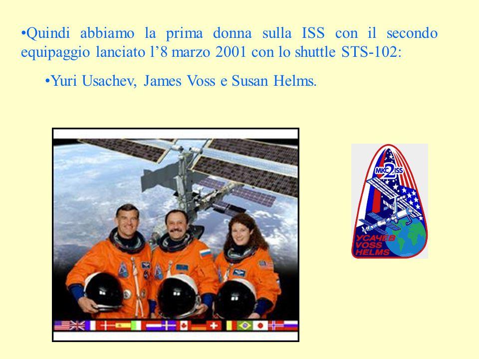 Quindi abbiamo la prima donna sulla ISS con il secondo equipaggio lanciato l'8 marzo 2001 con lo shuttle STS-102: Yuri Usachev, James Voss e Susan Helms.