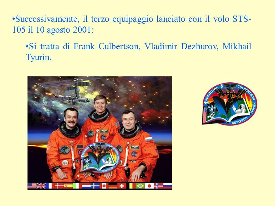 Successivamente, il terzo equipaggio lanciato con il volo STS- 105 il 10 agosto 2001: Si tratta di Frank Culbertson, Vladimir Dezhurov, Mikhail Tyurin.