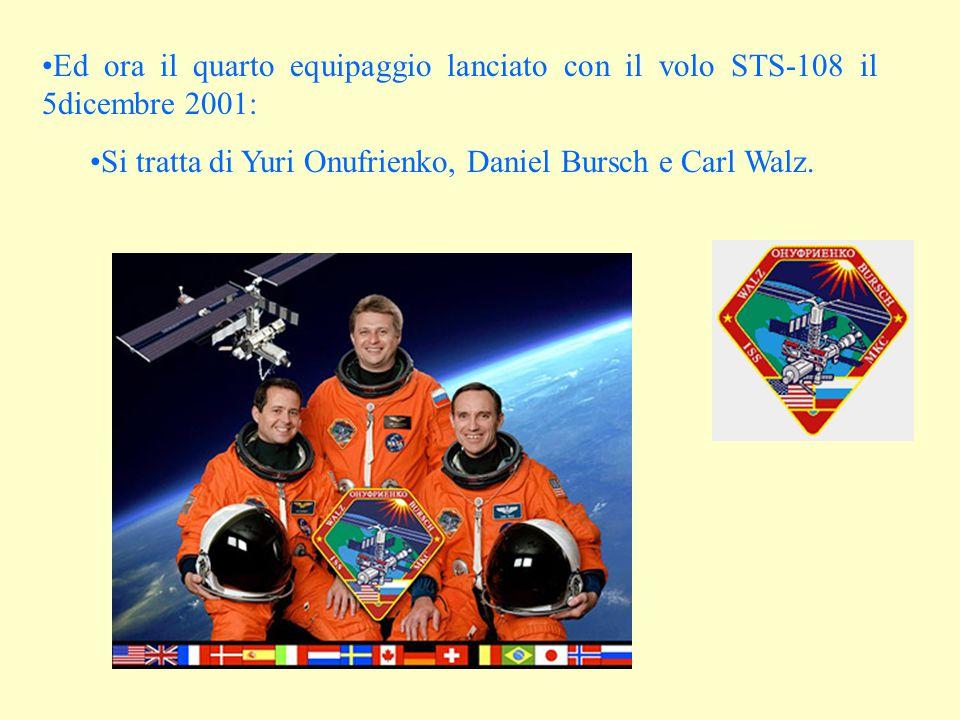 Ed ora il quarto equipaggio lanciato con il volo STS-108 il 5dicembre 2001: Si tratta di Yuri Onufrienko, Daniel Bursch e Carl Walz.