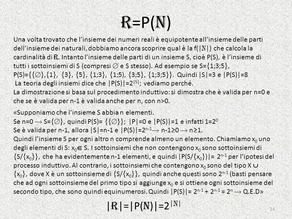 R =P( N ) Una volta trovato che l'insieme dei numeri reali è equipotente all'insieme delle parti dell'insieme dei naturali, dobbiamo ancora scoprire qual è la f(| N |) che calcola la cardinalità di R.