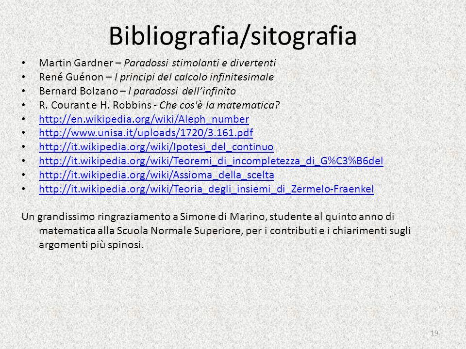 Bibliografia/sitografia Martin Gardner – Paradossi stimolanti e divertenti René Guénon – I principi del calcolo infinitesimale Bernard Bolzano – I paradossi dell'infinito R.