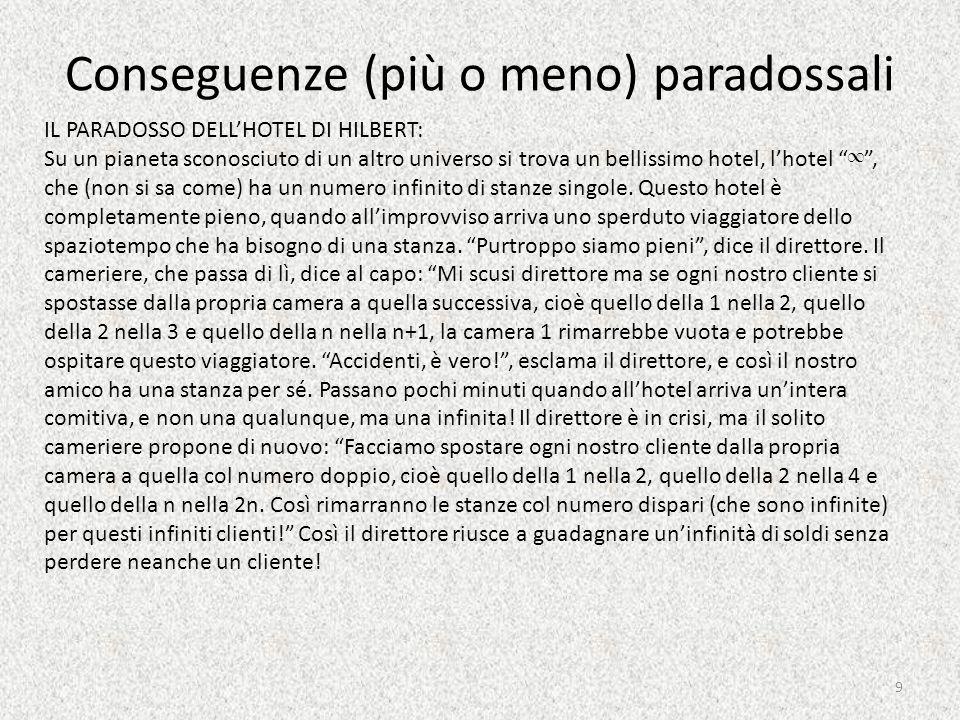 Conseguenze (più o meno) paradossali IL PARADOSSO DELL'HOTEL DI HILBERT: Su un pianeta sconosciuto di un altro universo si trova un bellissimo hotel,