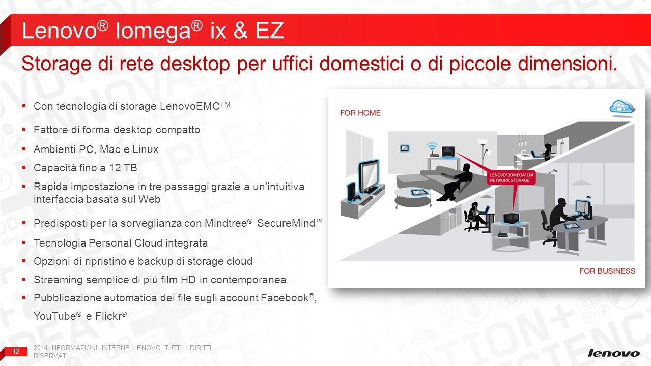 12  Con tecnologia di storage LenovoEMC TM  Fattore di forma desktop compatto  Ambienti PC, Mac e Linux  Capacità fino a 12 TB  Rapida impostazio