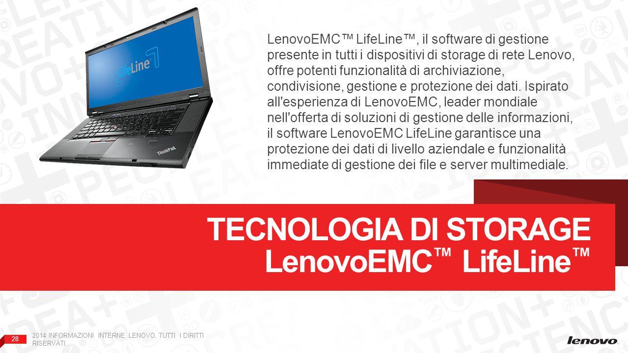 28 2014 INFORMAZIONI INTERNE LENOVO. TUTTI I DIRITTI RISERVATI. TECNOLOGIA DI STORAGE LenovoEMC ™ LifeLine ™ LenovoEMC™ LifeLine™, il software di gest