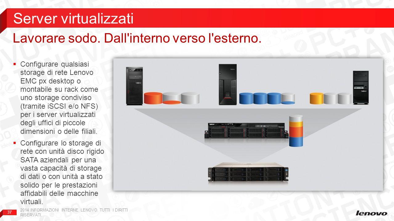 37  Configurare qualsiasi storage di rete Lenovo EMC px desktop o montabile su rack come uno storage condiviso (tramite iSCSI e/o NFS) per i server virtualizzati degli uffici di piccole dimensioni o delle filiali.